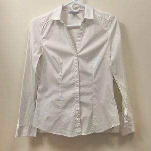 H&M White Fitted Button-Down Shirt